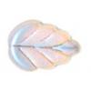 Glass Leaves 11x8mm Strung Crystal Aurora Borealis Matt